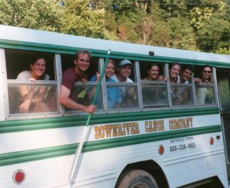 bus full of people ready to start their river adventure Downriver Canoe Company Shenandoah Valley River