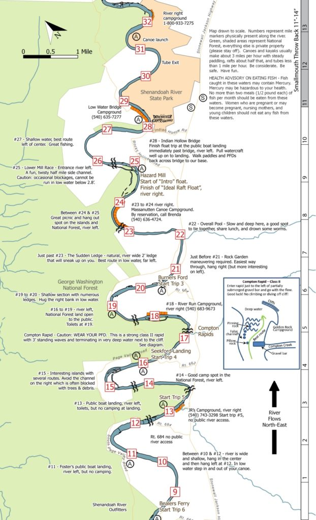 small map of south fork mile 1-28 luray to bentonville Downriver Canoe Company Shenandoah Valley River